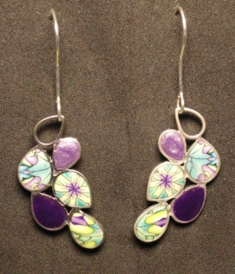 More polymer clay inset in metal earring findings, coated wit UV resin